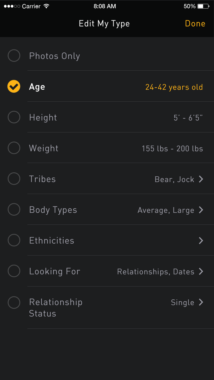 grindr search options